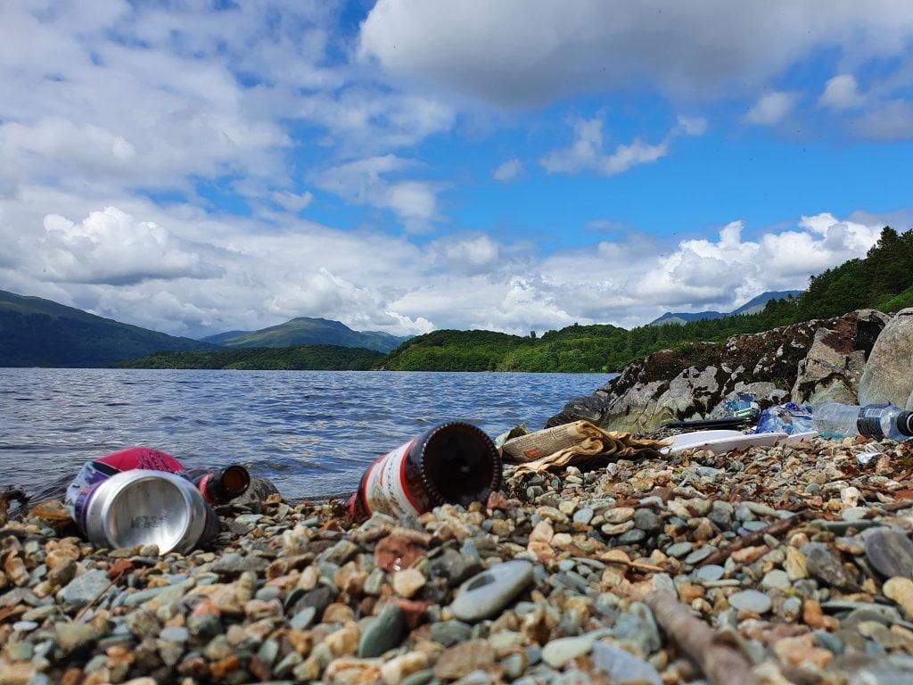 Litter on shores of Loch Lomond
